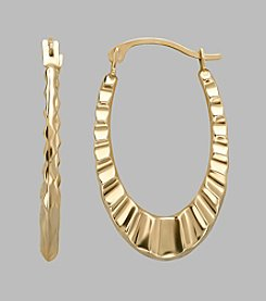 10K Yellow Gold Polished Scalloped Oval Hoop Earrings
