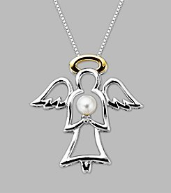 Cultured Freshwater Pearl Angel Pendant in Sterling Silver & 14K Yellow Gold