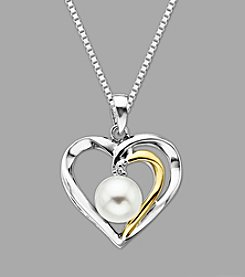Cultured Freshwater Pearl Heart Pendant in Sterling Silver & 14K Yellow Gold