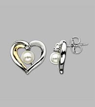 Cultured Freshwater Pearl Heart Earrings in Sterling Silver & 14K Yellow Gold