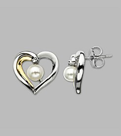 Cultured Freshwater Pearl Heart Earrings in Sterling Silver & 14K Yellow Gold