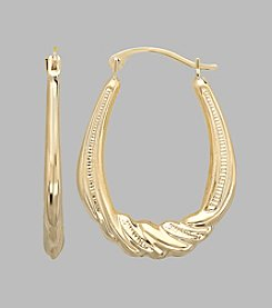 14K Yellow Gold Swirl Beaded Earrings