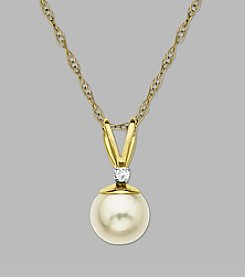 Cultured Freshwater Pearl & Diamond .05 ct. t.w. Pendant in 10K Yellow Gold