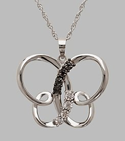 Sterling Silver Polished Freeform Butterfly Pendant with .026 ct. t.w. Black and White Diamonds