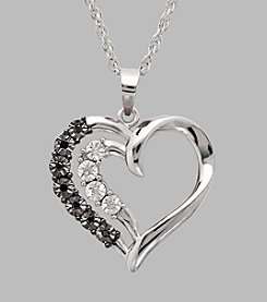 Sterling Silver Polished Double Heart Pendant with .036 ct. t.w. Black and White Diamonds