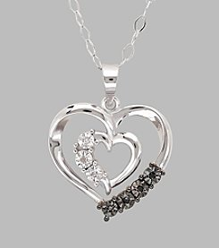 Sterling Silver Polished Double Open Heart Pendant with .03 ct. t.w. Black and White Diamonds