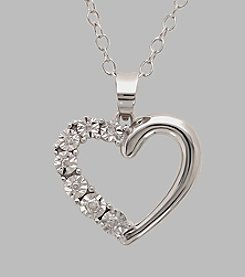 Sterling Silver Polished Open Heart Pendant with .03 ct. t.w. White Diamonds