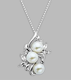 6mm Freshwater Pearl Cluster Pendant with Created White Sapphire in Sterling Silver