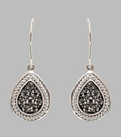 Sterling Silver Braided Teardrop Earrings with .05 ct. t.w. Black Diamond Accents