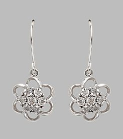 Sterling Silver Open Flower Earrings with .07 ct. t.w. White Diamonds