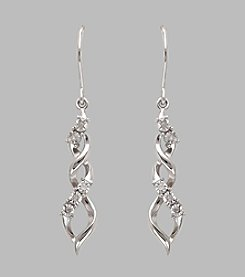 Sterling Silver Graduated Swirl Drop Earrings with .05 ct. t.w. White Diamond Accents