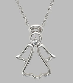 Sterling Silver Polished Open Angel Pendant with .02 ct. t.w. White Diamond