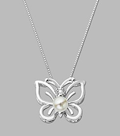 Cultured Freshwater Pearl Butterfly Pendant in Sterling Silver