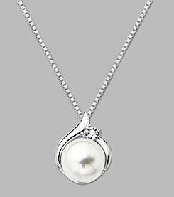 8mm Cultured Freshwater Pearl Diamond Accent Pendant in Sterling Silver