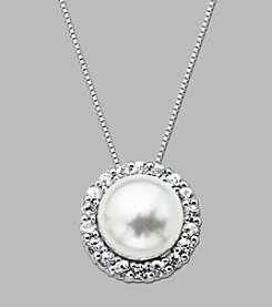 10mm Cultured Freshwater Pearl and White Topaz Pendant in Sterling Silver