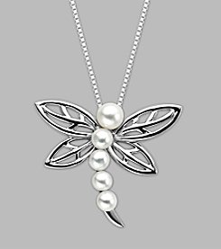 Cultured Freshwater Pearl Dragonfly Pendant in Sterling Silver