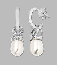 Cultured Freshwater Pearl Drop Earrings and White Topaz in Sterling Silver