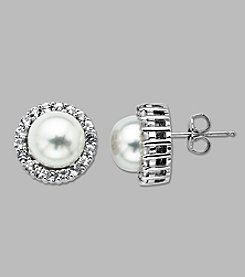 Cultured Freshwater Pearl and White Topaz Earrings in Sterling Silver