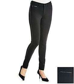 One 5 One® Faux Leather Trim Ponte Pants