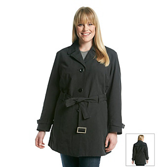 Relativity Plus Size Single Breasted Belted Trench Coat Women's