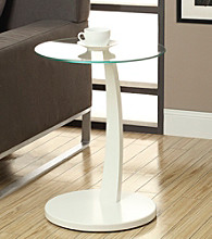 Monarch White Bentwood Accent Table With Tempered Glass