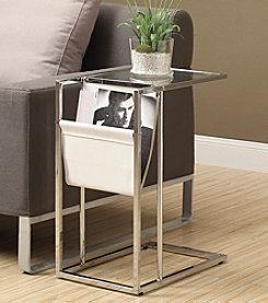 Monarch Lincoln White Accent Table with Magazine Holder *