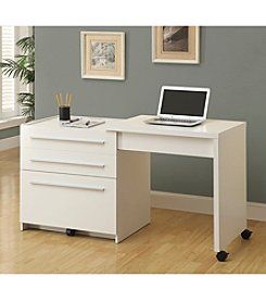 Monarch Damon White Slide-Out Desk With Storage Drawers