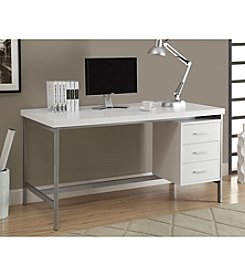 Monarch White & Silver Office Desk
