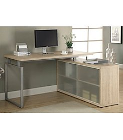 Monarch Harris L-Shaped Desk With Frosted Glass