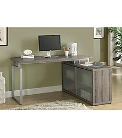 Monarch Dark Taupe Reclaimed L- Shaped Frosted Glass Desk