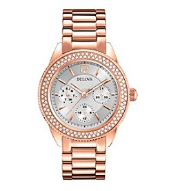 Bulova® Women's Rose Goldtone Crystal Watch
