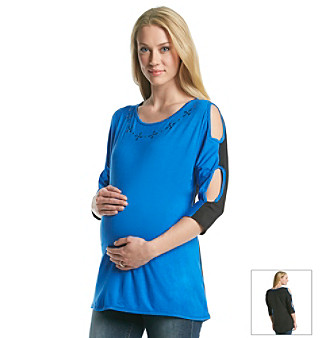 Three Seasons Maternity™ Peek-A-Boo Sleeve Stud Neck Top plus size,  plus size fashion plus size appare