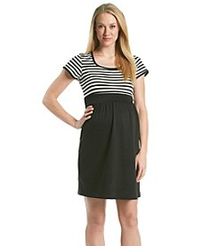 Three Seasons Maternity™ Stripe Top with Solid Skirt Dress