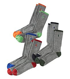 Polo Ralph Lauren® Men's 6-Pack Gray Crew Socks