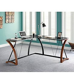 Whalen Furniture Newport Wood & Glass L-Shaped Desk