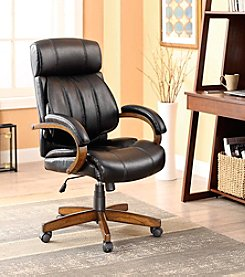 Whalen Furniture Breckenridge Wood & Leather Executive Adjustable Lumbar Chair