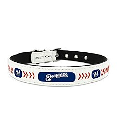 MLB® Milwaukee Brewers Classic Leather Baseball Pet Collar