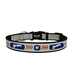 MLB® Milwaukee Brewers Reflective Baseball Pet Collar