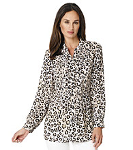 Jones New York Sport® Cheetah Print Pintucked Blouse