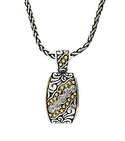 Effy® 0.10 ct. t.w. Diamond Pendant in Sterling Silver and 18K Yellow Gold