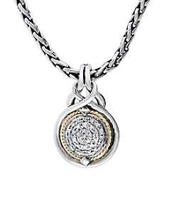 Effy® 0.12 ct. t.w. Diamond Pendant in Sterling Silver and 18K Yellow Gold