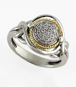 Effy® Balissima Collection 0.06 ct. t.w. Diamond Ring in Sterling Silver and 18K Yellow Gold