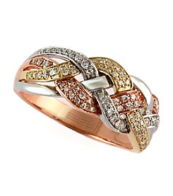 Effy® Trio Collection 0.29 ct. t.w. Diamond Braid Band Ring in 14K Tri-Color Gold