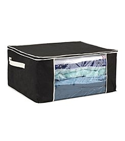 Simplify Black Blanket Storage Bag with Cream Trim