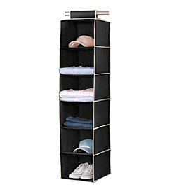 Simplify Black 6-Shelf Hanging Sweater Organizer with Cream Trim