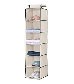 Simplfy Cream 6-Shelf Hanging Sweater Organizer with Black Trim