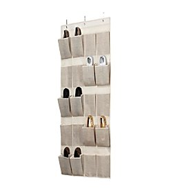 Simplify Burlap 20-Pocket Over The Door Shoe Organizer