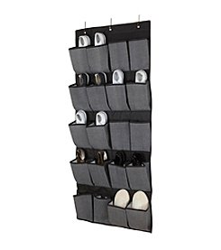 Simplify Grey 20-Pocket Over The Door Shoe Organizer