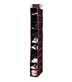 Simplify Black 10-Shelf Hanging Organizer with Fuchsia Trim