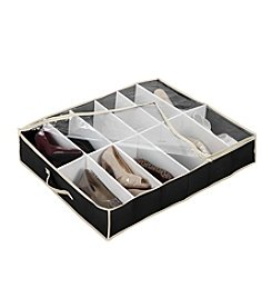 Simplify Black 12-Pair Under-The-Bed Shoe Organizer with Cream Trim